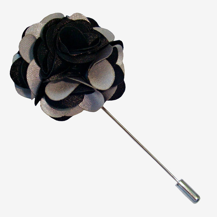 Bassin and Brown - Floral Jacket Lapel Pin- Black and Light Grey