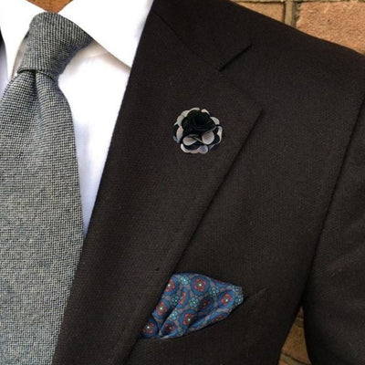 Bassin and Brown Black and Light Grey Floral Jacket Lapel Pin