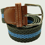Bassin and Brown Horizontal Stripe Woven Elasticated Belt - Green and Blue