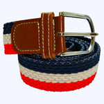 Bassin and Brown Red, White and Navy Horizontal Stripe Woven Elasticated Belt