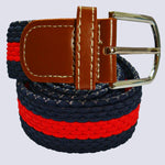 Bassin and Brown Red and Navy Horizontal Stripe Woven Elasticated Belt