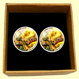 Bassin and Brown Leopard Family Cufflinks - Yellow and Green
