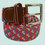 Bassin And Brown Multi Colour Woven Elasticated Belt -Red, Pink, Green And Blue