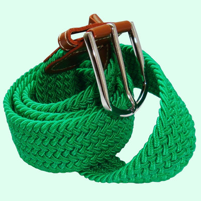 Bassin And Brown Plain Woven Elasticated Fabric Belt - Green