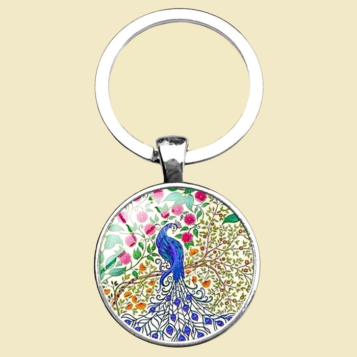 Peacock Tree - Keyring - Beige, Blue, Green and Red
