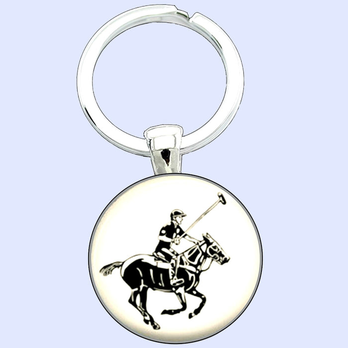 Bassin And Brown - Polo Player Keyring - White and Black