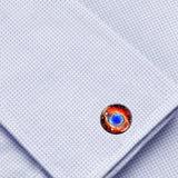 Bassin and Brown - Ring Nebula Cabachon Cufflinks - Orange and Blue