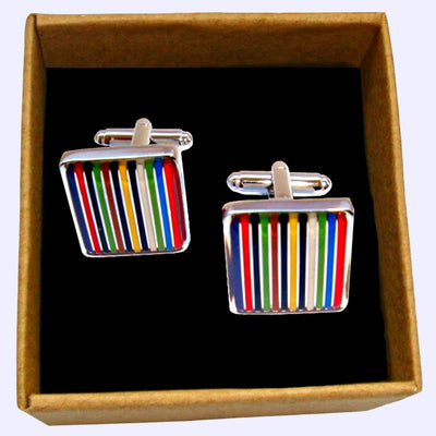 Bassin and Brown - Multi Coloured Striped Enamel Cufflinks