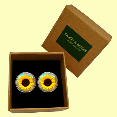 Bassin and Brown - Sunflower Cufflinks - Yellow and Brown