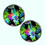 Bassin and Brown - Tropical Plants Cufflinks - Black, Green and Blue
