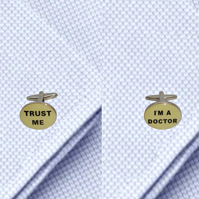 Bassin and Brown - Trust Me I'm A Doctor Cufflinks - White,Black and Silver