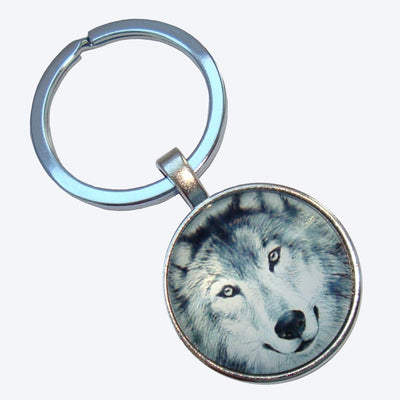 Bassin and Brown Arctic Wolf Keyring - Grey/White