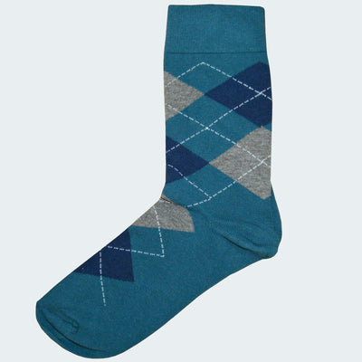 Bassin and Brown Argyle Cotton Socks - Teal, Blue and Grey
