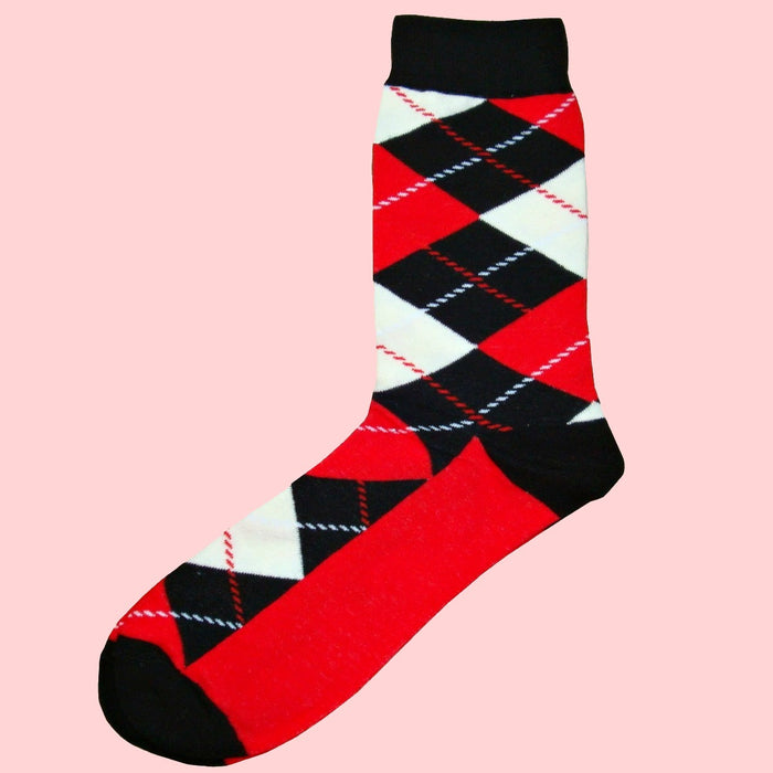Bassin and Brown Argyle Socks - Black-Red-White