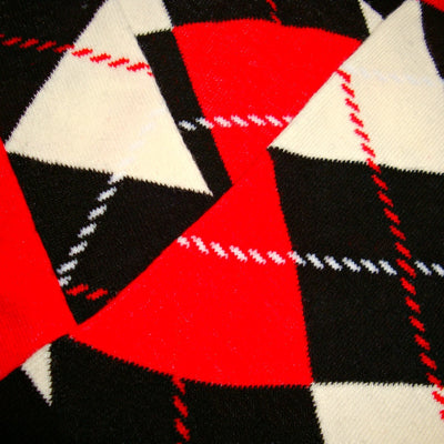 Bassin and Brown Black, Red and White Argyle Cotton Socks