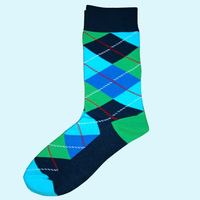 Bassin and Brown Argyle Socks - Blue, Green, Turquoise, Navy
