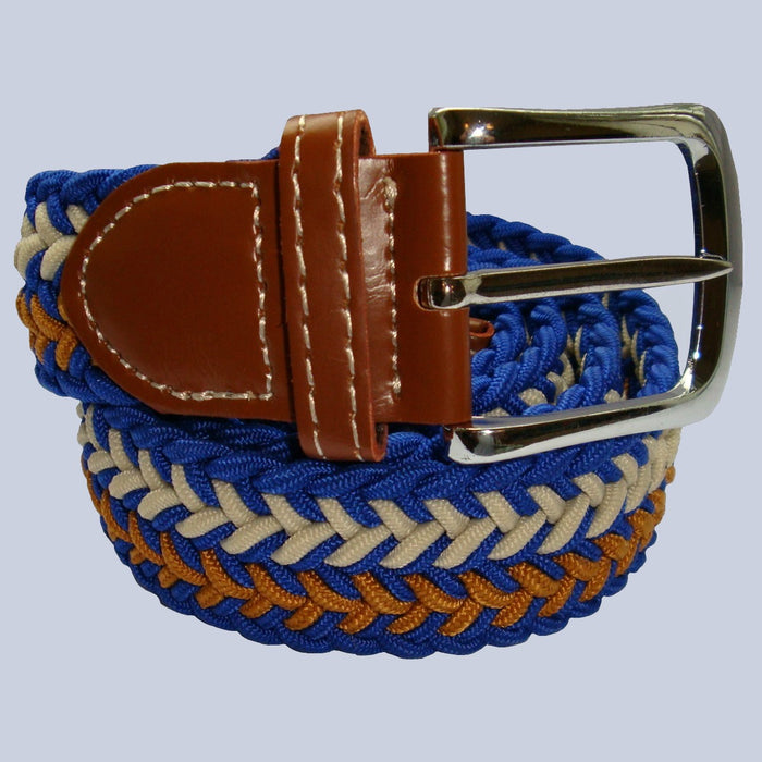 Bassin and Brown - Arrow Stripe - Woven Elasticated Belt - Blue, Beige and Gold