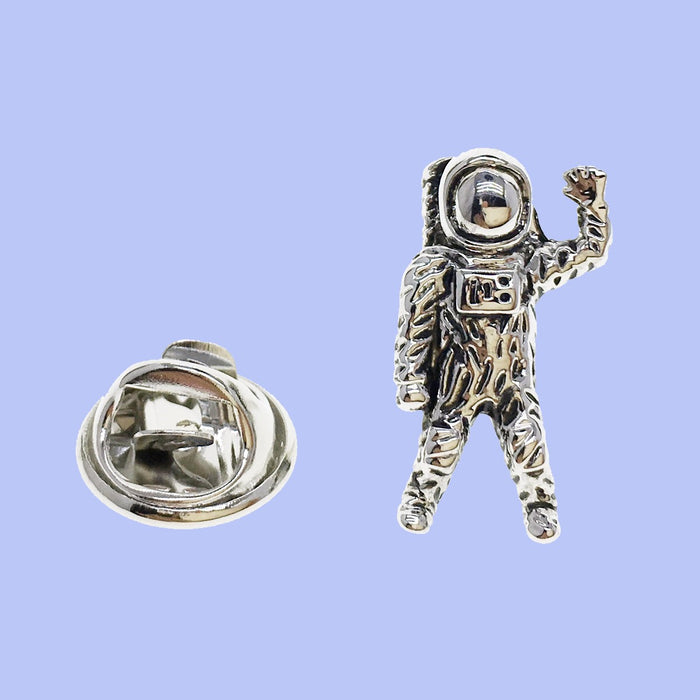 Bassin and Brown Astronaut Lapel Pin  - Silver