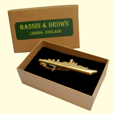 Bassin and Brown Battleship Tie Bar - Gold