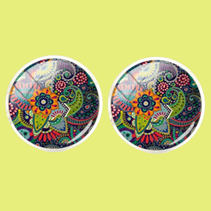 Bassin and Brown Bohemian Flower Cufflinks - Green,Navy,Orange and Red
