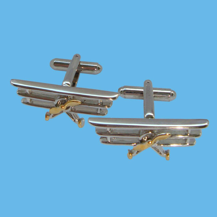 Bassin and Brown Silver Triplane Cufflink