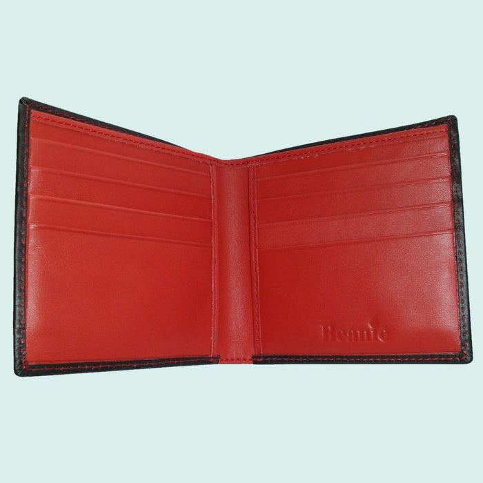 Bassin and Brown Black/Red Billfold 8 Card Slot Leather Wallet