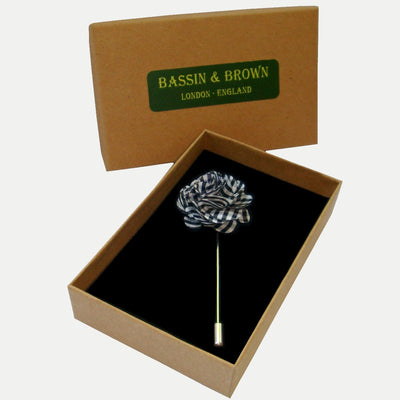 Bassin and Brown Black and White Check Jacket Lapel Pin