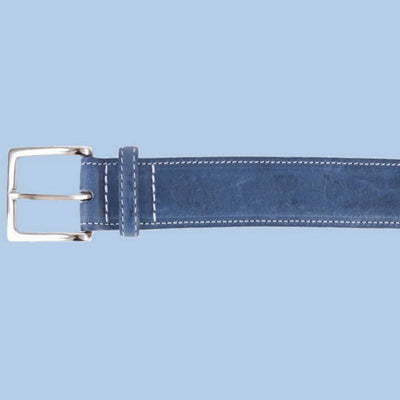 Bassin and Brown Blue Leather Contrast Stitch Belt