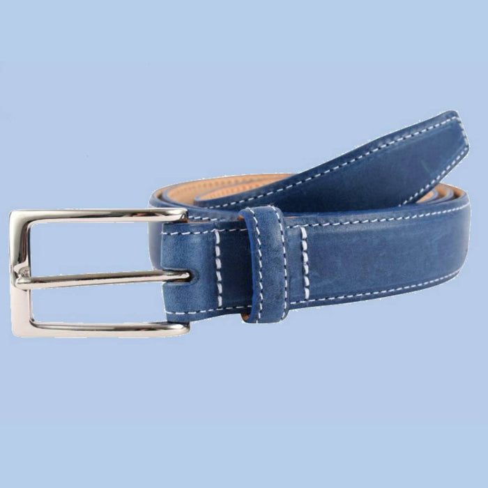 Bassin and Brown - Blue Leather Belt - Contrasting Stitching