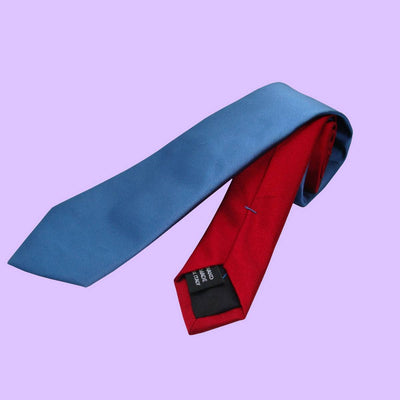 Bassin and Brown Plain Woven Silk Tie Blue/Red