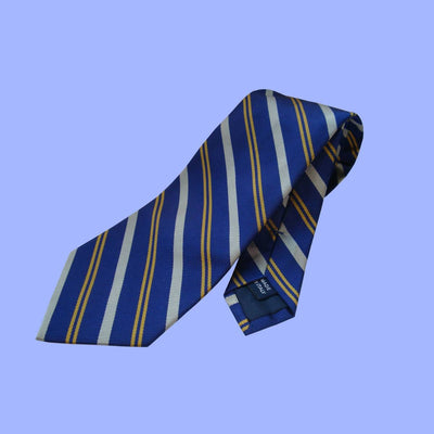 Bassin and Brown Classic Woven Stripe Silk Tie Navy/White/Yellow
