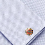 Bassin and Brown Bohemian Swirl Cufflinks -Wine.Green.Yellow.Blue