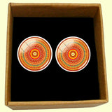 Bassin and Brown Bohemian Swirl Cufflinks - Orange, Red and Green