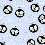 Bassin and Brown Boxing Gloves Keyring - Black/White