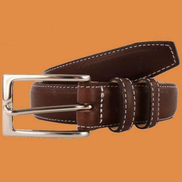 Bassin and Brown - Brown Leather Belt - Contrast Stitching