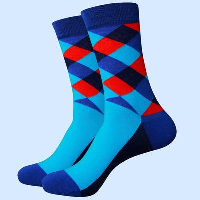 Bassin and Brown Multi Coloured Check Socks Navy/Blue/Turquoise/Red