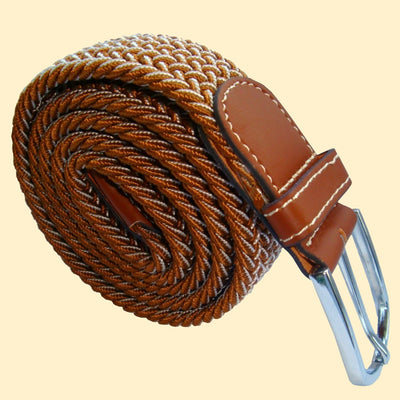 Bassin and Brown Chevron Lined - Stretch Fabric Woven - Silver Toned Buckle Belt - Light Brown/White