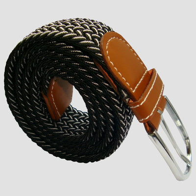 Bassin and Brown Chevron Lined - Stretch Fabric Woven - Silver Toned Buckle Belt - Black/White