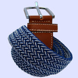 Bassin and Brown Navy Chevron Elasticated Woven Silver Toned Buckle Belt
