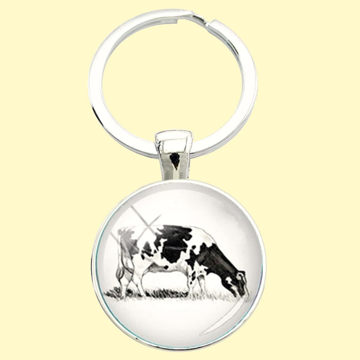 Bassin and Brown  -Cow Keyring - Black/White