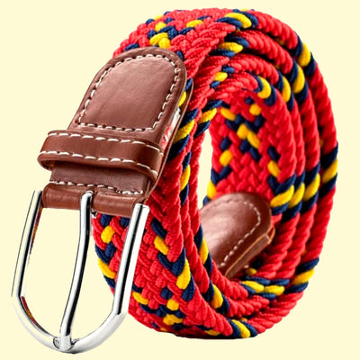 Bassin and Brown Cross Stripe Woven Fabric Elasticated Belt - Red,/Navy/Yellow