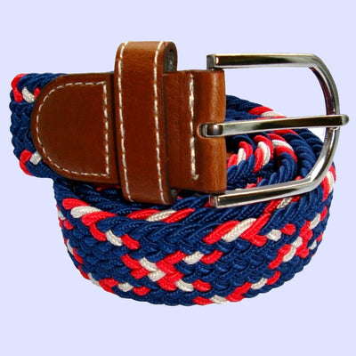 Bassin and Brown Cross Stripe  Woven Fabric Elasticated Belt - Navy,Red,White