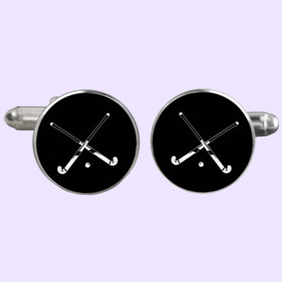 Bassin and Brown Crossed Hockey Sticks Cufflinks - Black/White