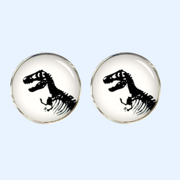 Bassin and Brown Dinosaur Cufflinks - White/Black