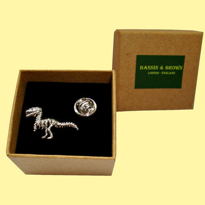 Bassin and Brown Dinosaur Jacket Lapel Pin - Silver