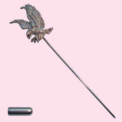 Bassin and Brown Eagle Lapel Pin - Silver