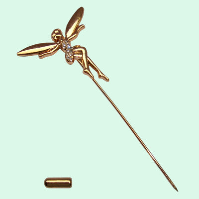Bassin and Brown Fairy Jacket Lapel Pin - Gold