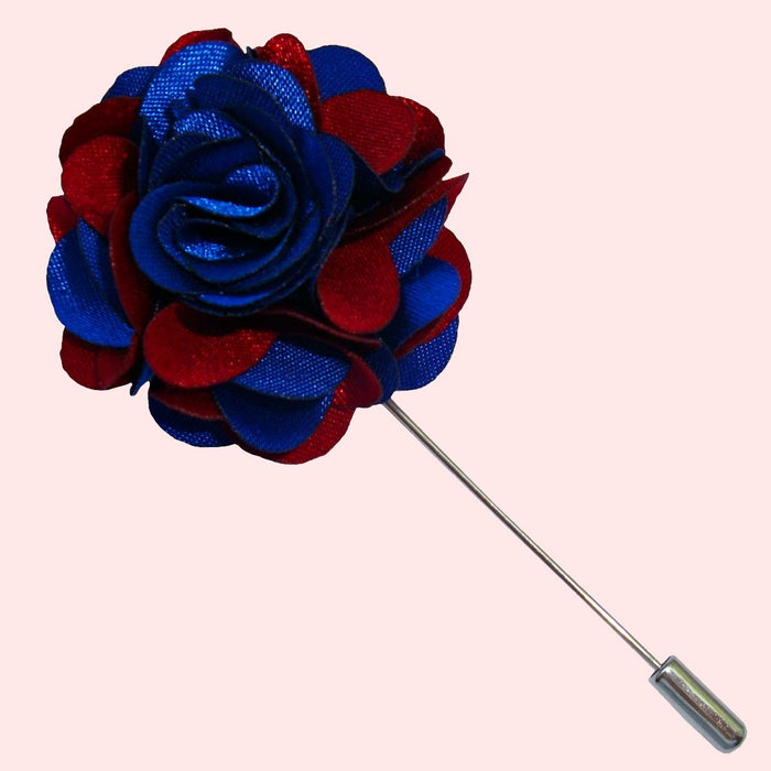 Bassin and Brown Floral Jacket Lapel Pin - Blue and Wine