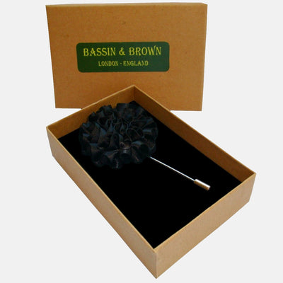 Bassin and Brown Flower Jacket Lapel Pin - Black