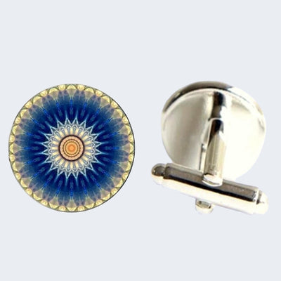 Bassin and Brown Flower Spray Cufflinks - Blue and White